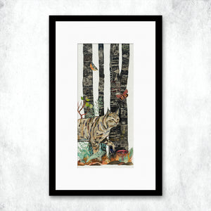thumbnail for WHSL - Midnight Forest Diptych (Bobcat) Art Print