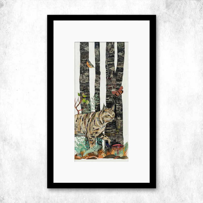 main image for WHSL - Midnight Forest Diptych (Bobcat) Art Print