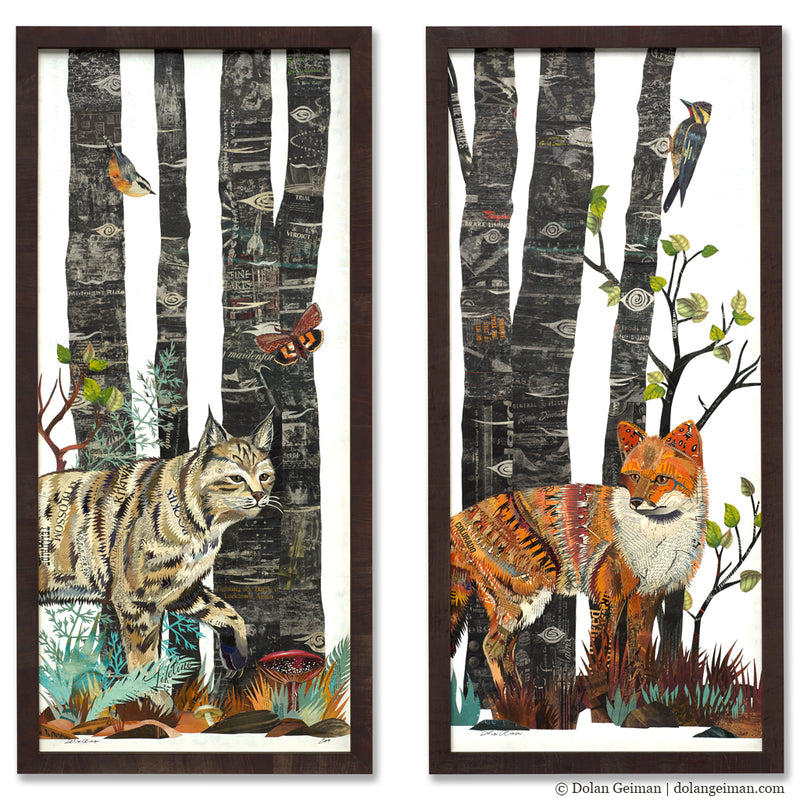 main image for Midnight Forest Fox and Bobcat Diptych Original Paper Collage