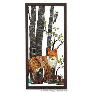 thumbnail for Midnight Forest Fox and Bobcat Diptych Original Paper Collage