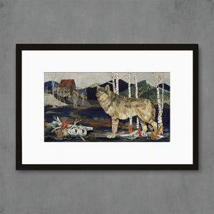 thumbnail for Miner's Apparition Wolf with Aspens Art Print