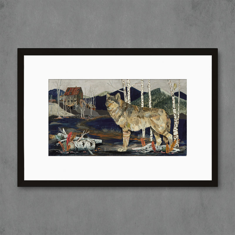 main image for Miner's Apparition Wolf with Aspens Art Print