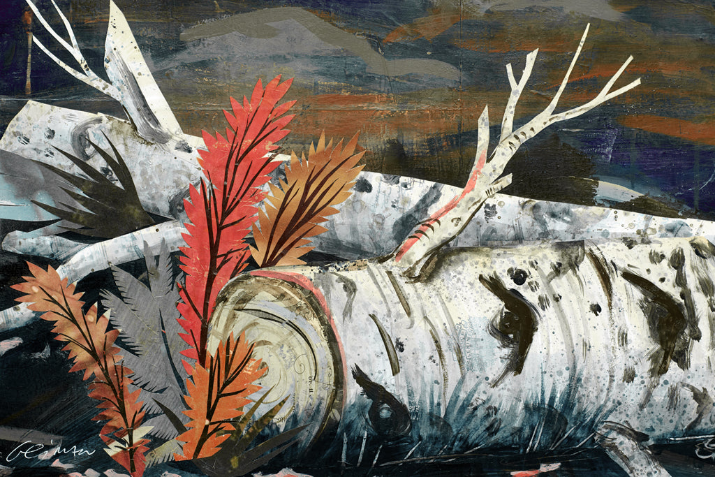 Wolf with Aspen Trees and Miner's Cabin Original Paper Collage