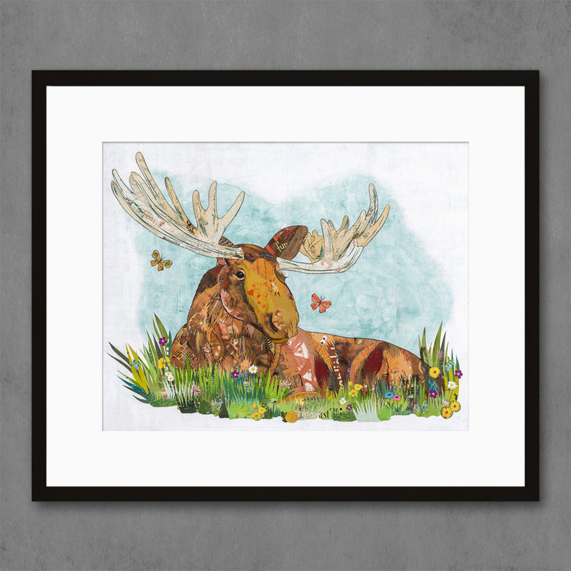 main image for Relaxing in the Woods  - Moose Art Print