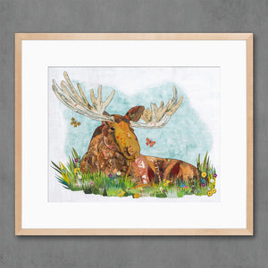 thumbnail for Relaxing in the Woods  - Moose Art Print