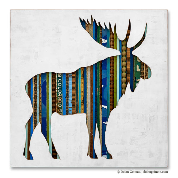 Bull Moose Mixed Media Silhouette Art