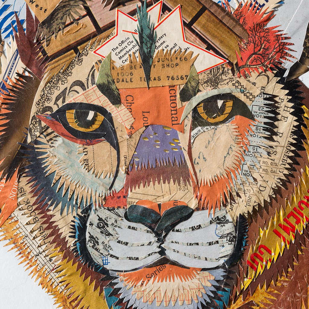 Mountain Lion Paper Collage Art