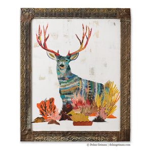 thumbnail for Mule Deer Buck Paper Collage Art