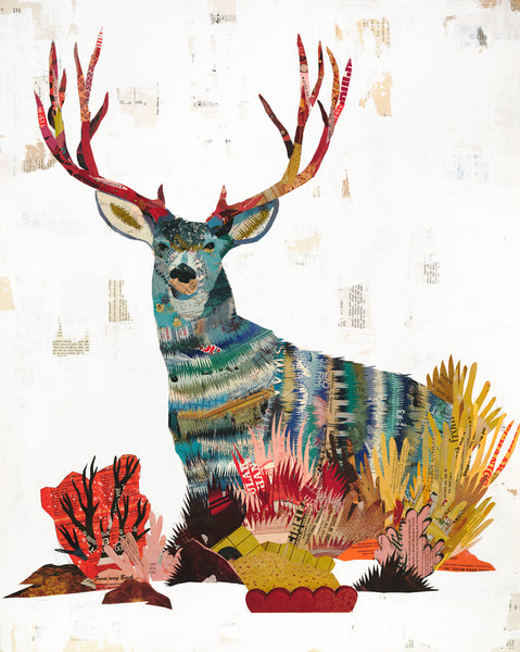 Mule Deer Buck Paper Collage Art