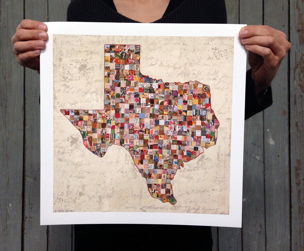 My Texas Map Collage Art Print