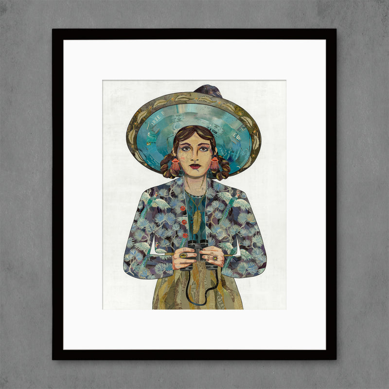 main image for The Naturalist Woman with Binoculars Art Print