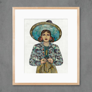 thumbnail for The Naturalist Woman with Binoculars Art Print