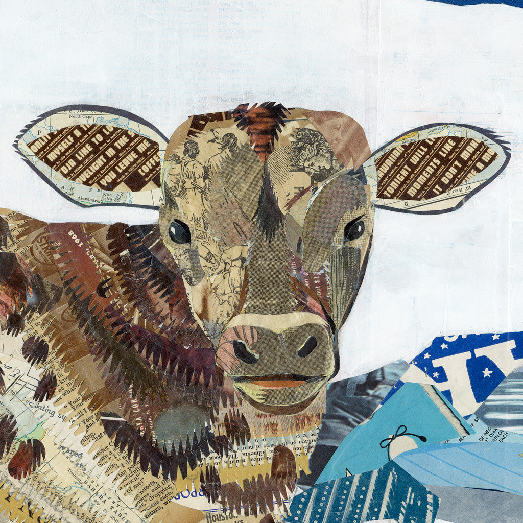 Lineage, Longhorn with Calf Paper Collage Art
