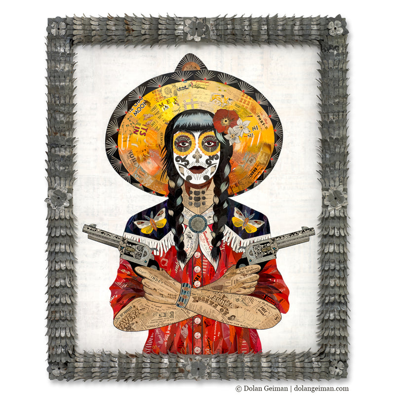 main image for Night Wing Cowgirl Collage with Ornate Frame