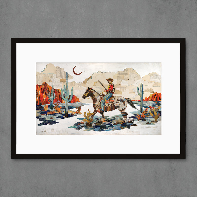 main image for Night Scout Cowboy on Horse in Desert Landscape Art Print
