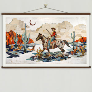 thumbnail for Night Scout Cowboy on Horse in Desert Landscape Art Print