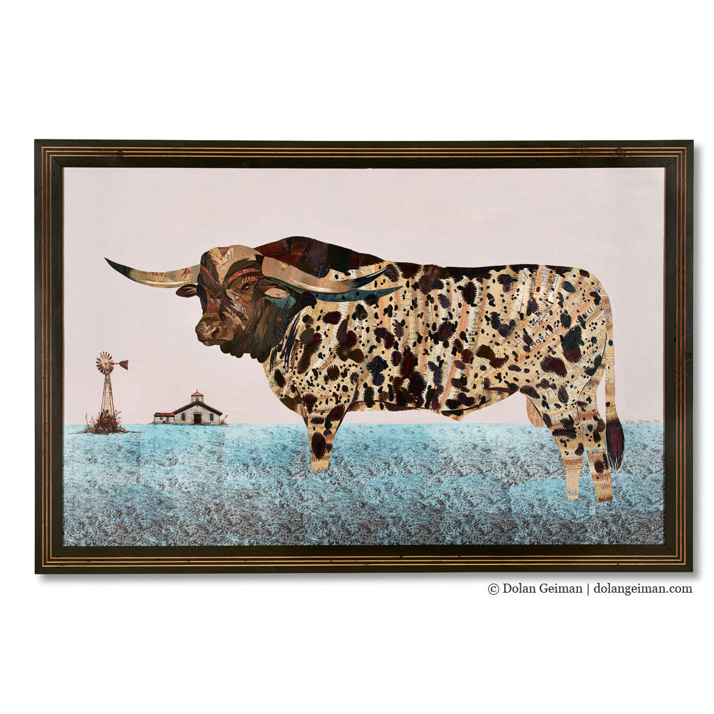 Old Preacher Longhorn with Windmill Original Paper Collage