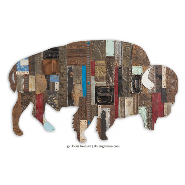Exceptional On The Range Bison/Buffalo Metal Wall Sculpture