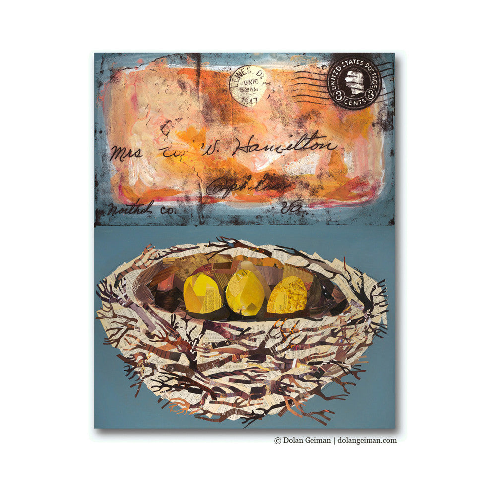 Ophelia Bird Nest with Love Letter Mixed Media Art