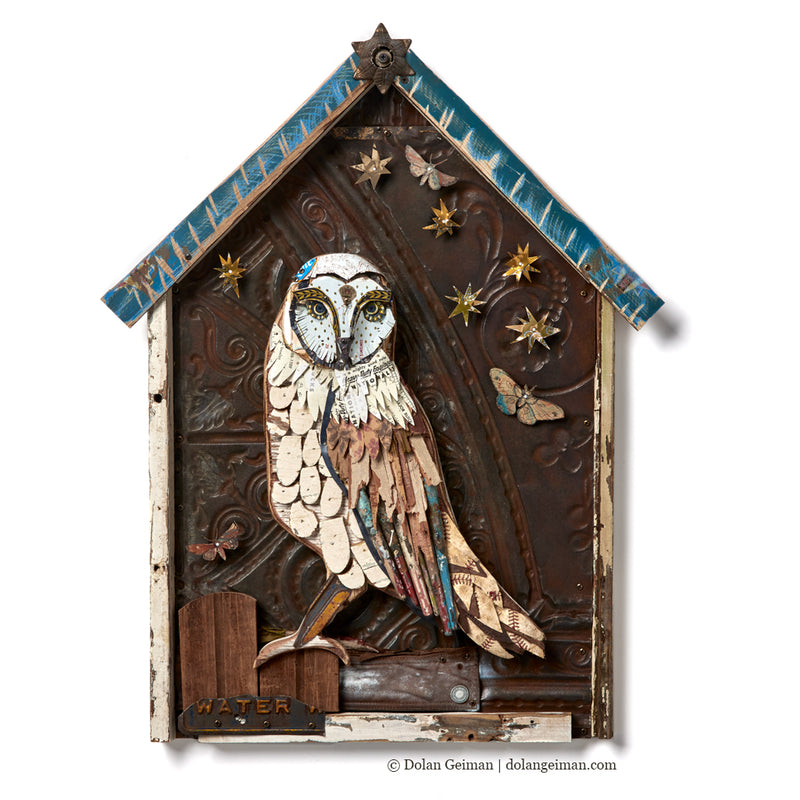 main image for Owl in Shrine Original Mixed Media Assemblage