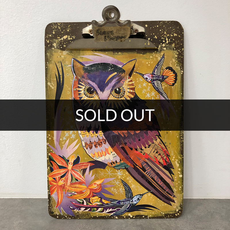 main image for Small Works Event - Owl Painting on Clipboard - Original by Dolan Geiman