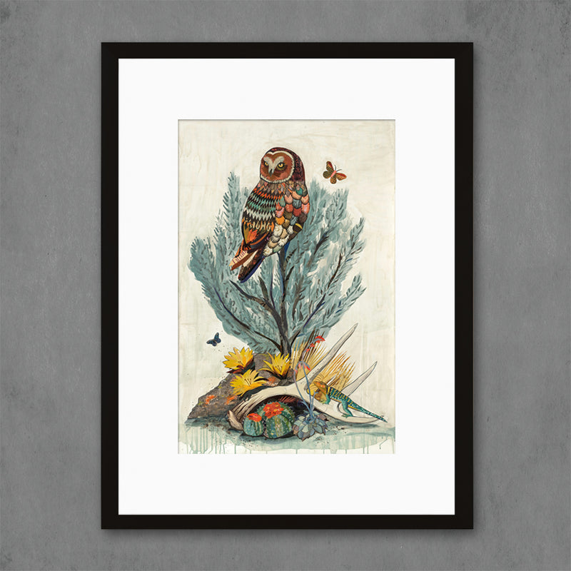 main image for Owl with Sage Brush and Lizard Art Print