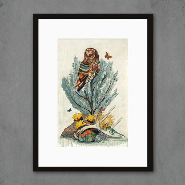 Owl with Sage Brush and Lizard Art Print