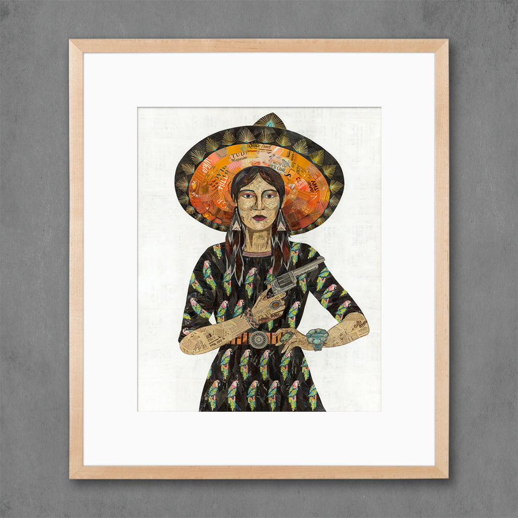 Cowgirl with Parrot Dress Art Print