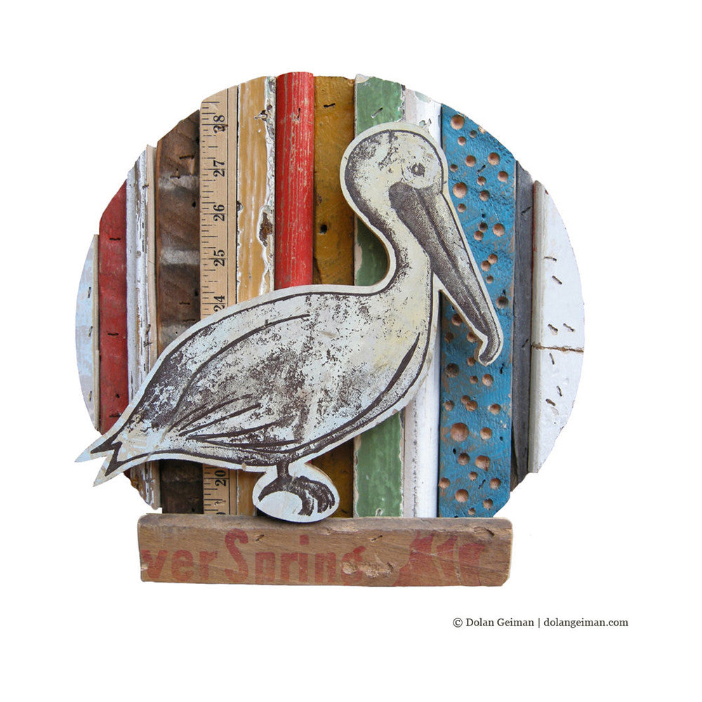 Pelican with Nautical Colors Rescued Wood Construction