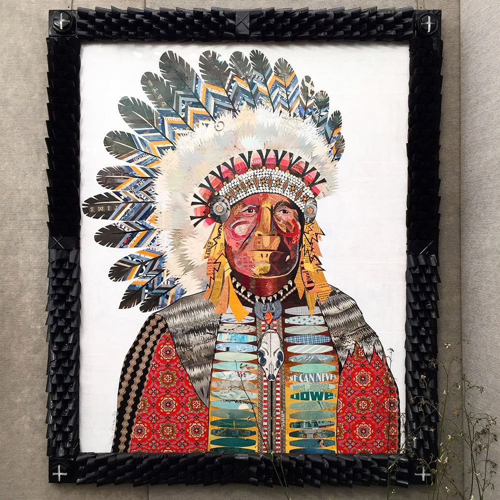 Poet of the Plains in Ornate Frame Original Paper Collage