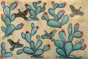 thumbnail for Quail & Cactus Painting