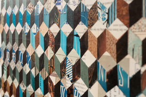 thumbnail for Tumbling Block Quilt Paper Collage Art