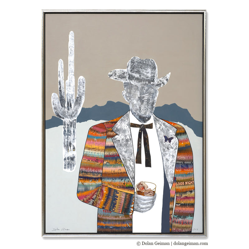 main image for Quilted Wrangler - Cowboy with Cactus Original Paper Collage