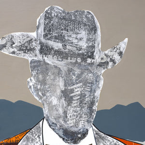 thumbnail for Quilted Wrangler - Cowboy with Cactus Original Paper Collage