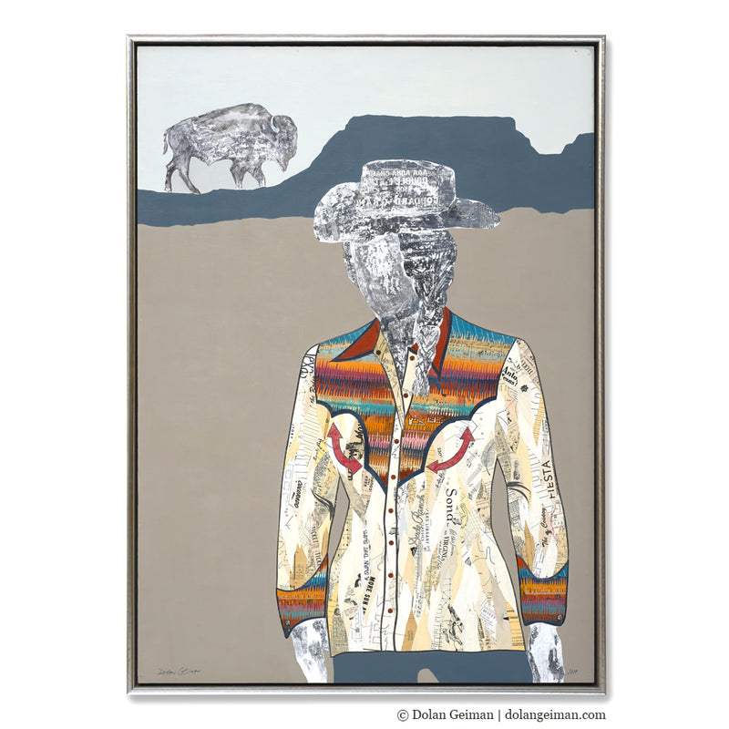 main image for Quilted Wrangler - Cowgirl with Buffalo Original Paper Collage