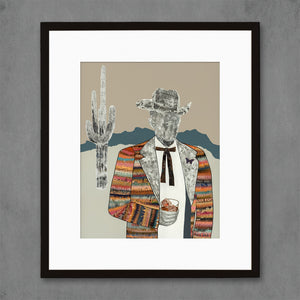 thumbnail for The Quilted Wrangler Cowboy-Cactus Art Print