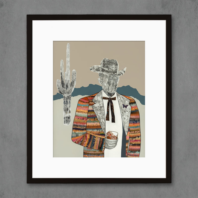 main image for The Quilted Wrangler Cowboy-Cactus Art Print