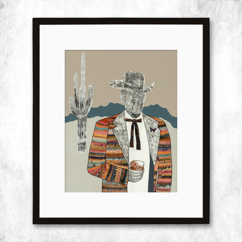 main image for WHSL - Quilted Wrangler Cowboy Art Print