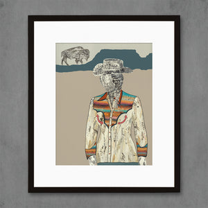 thumbnail for The Quilted Wrangler Cowgirl-Buffalo Art Print