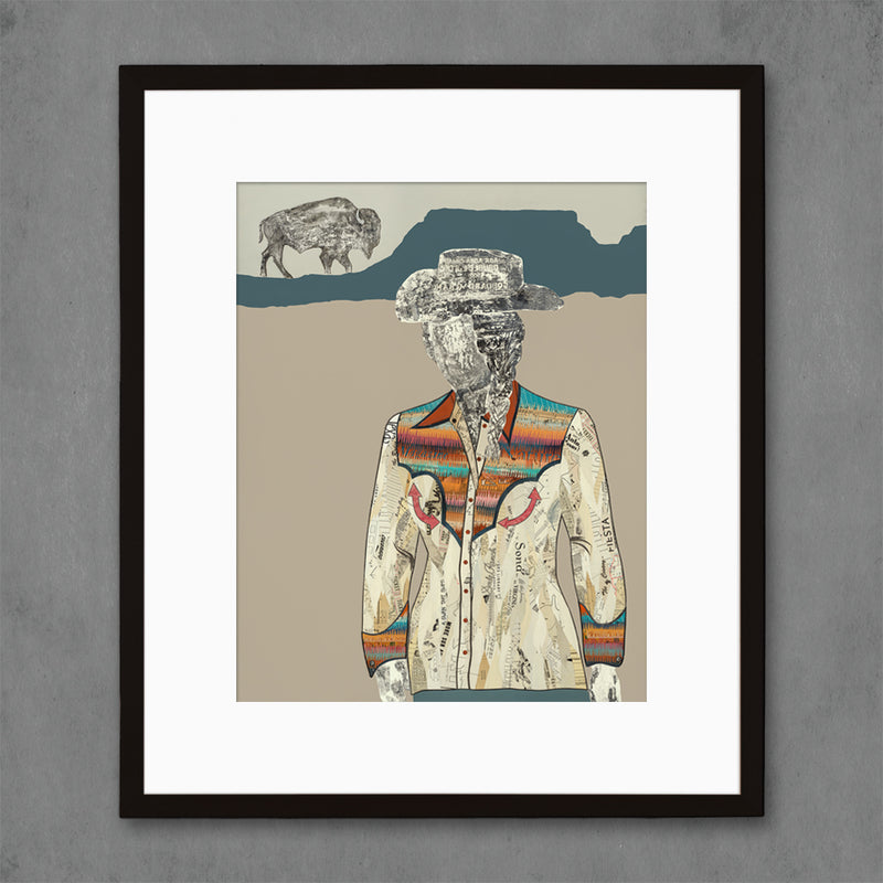 main image for The Quilted Wrangler Cowgirl-Buffalo Art Print