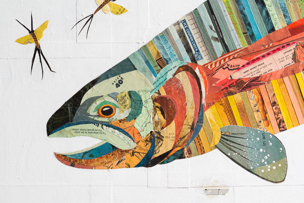 Rainbow Trout Paper Collage Art