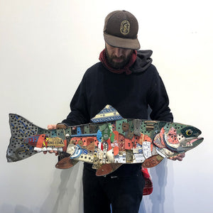 thumbnail for Rainbow Trout Mixed Media Wall Sculpture