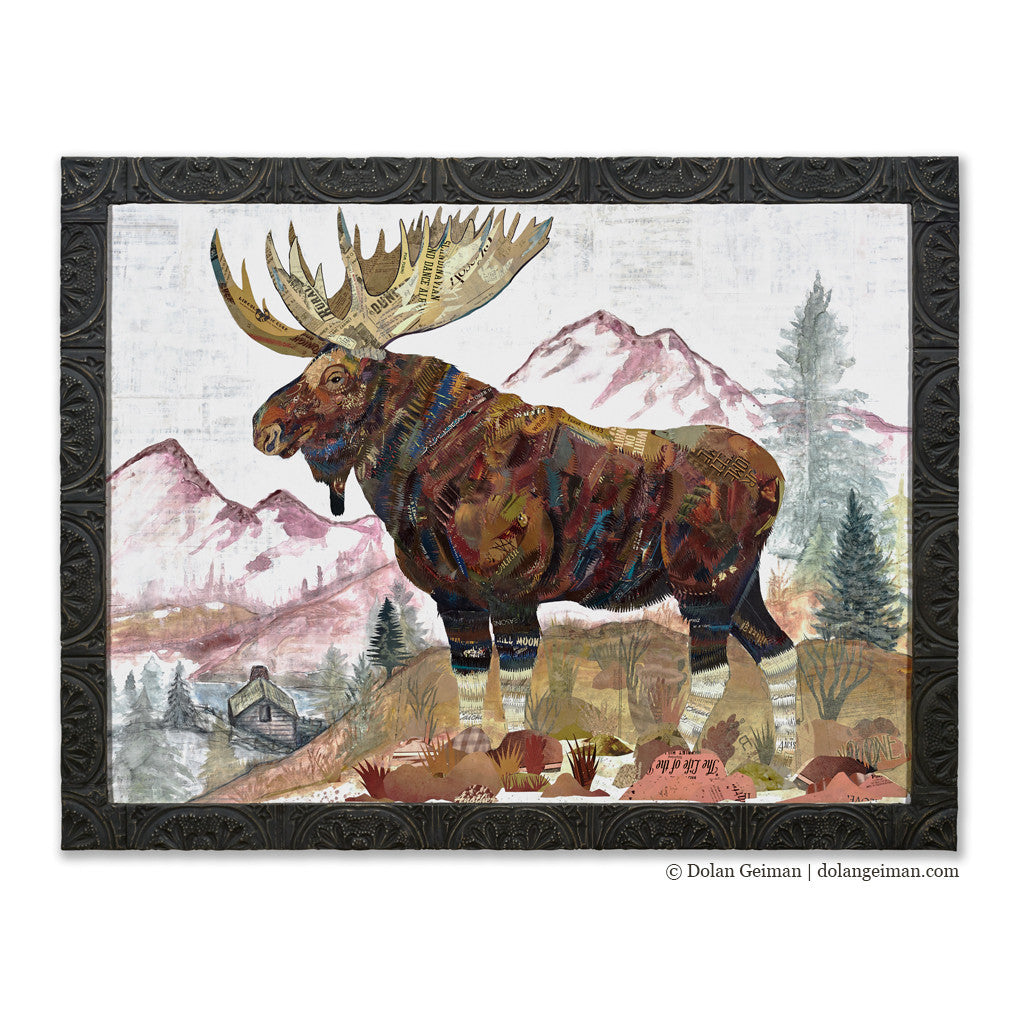 Large Moose Paper Collage Rocky Mountain Sentinel