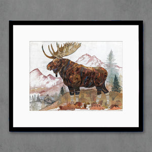 thumbnail for Moose with Mountains Nature Art Print