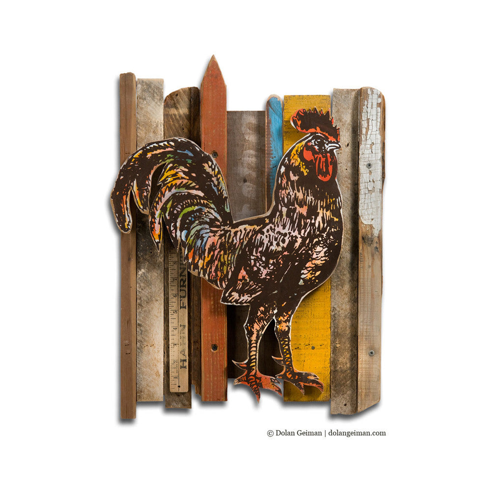 Primitive Rooster Rescued Wood Construction