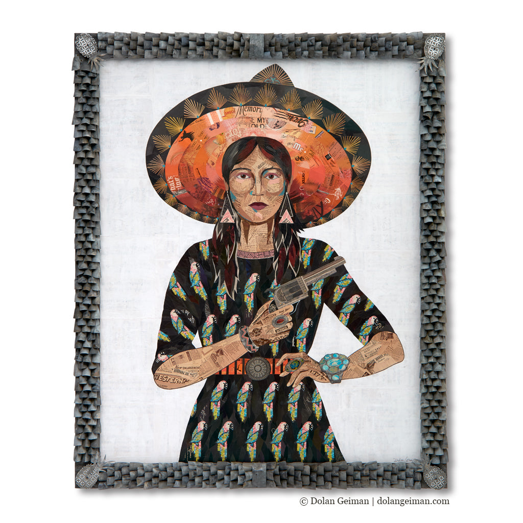 Rum & Rumba Woman with Parrot Dress Original Collage with Ornate Frame
