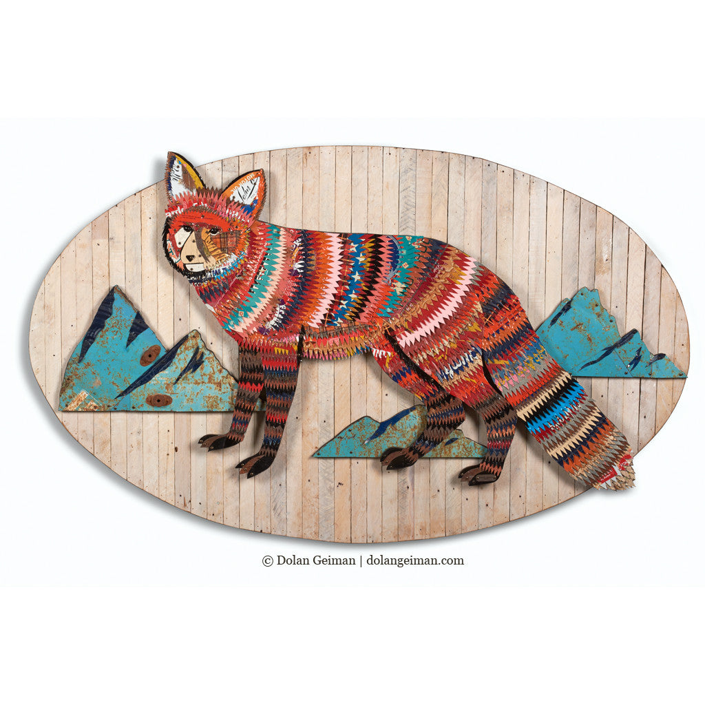 Red Fox with Mountains Metal Wall Sculpture