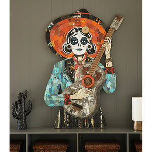 thumbnail for Sugar Skull La Guitarrista Metal Wall Sculpture