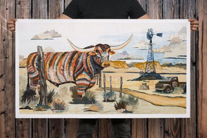 thumbnail for Longhorn with Windmill Cattle Art Print