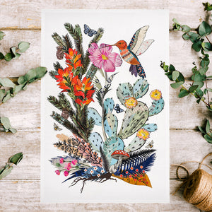 thumbnail for Hummingbird with Cactus Art Print